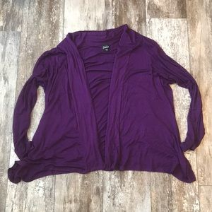SIMPLY EMMA DEEP PURPLE OPEN DRAPE CARDIGAN 3X